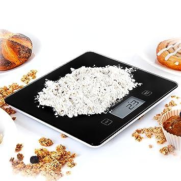 Duronic KS875 Báscula Cocina Digital 5 Kg de Cristal Balanza Peso Ingredientes Color Gris