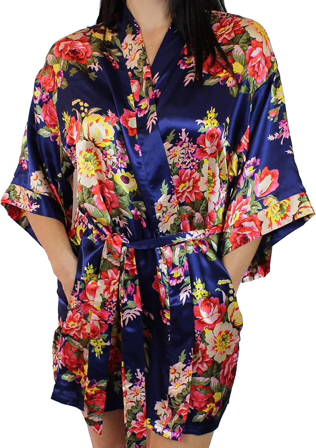 Silky Touch Womens Floral Satin Kimono Short Bridesmaid Robe with Pockets
