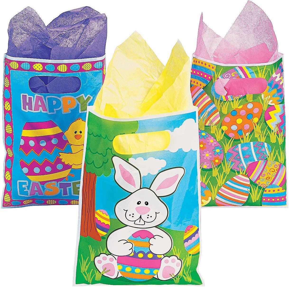 green tissue Miniature Gift Bag with Easter Basket Full of Chicks