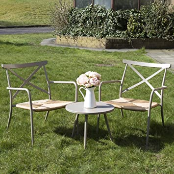 Outdoor Garten Möbel Set Oseasons Terrasse Tisch U0026 Zwei Stühle Rattan  Aluminium Taupe