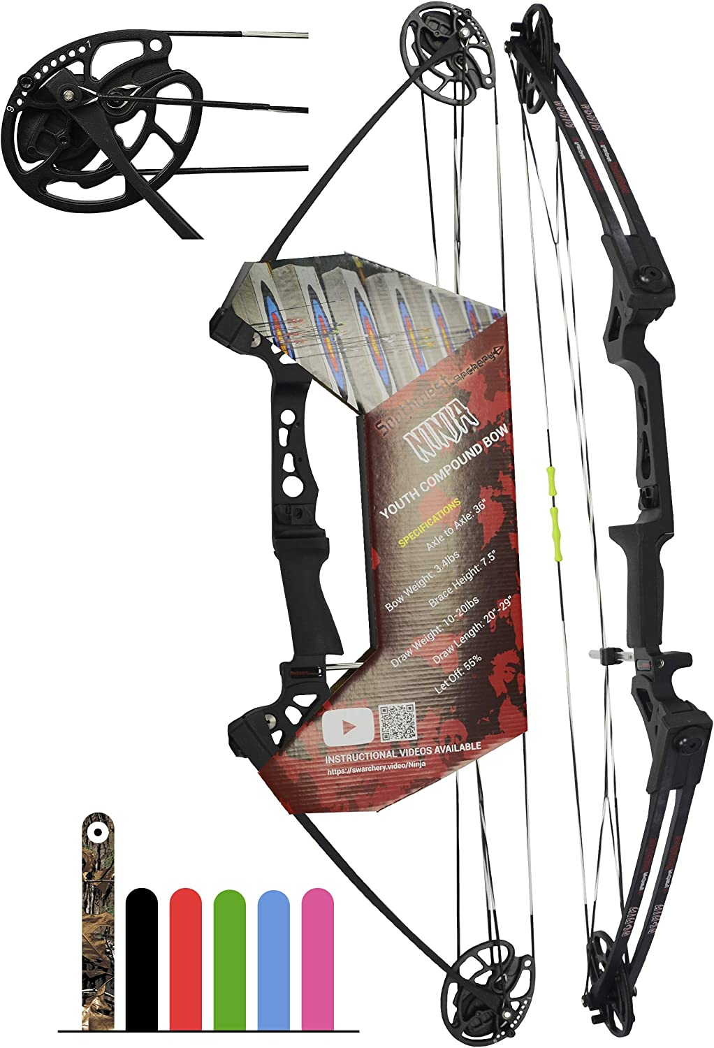 """Southwest Archery Ninja Kids Youth Compound Bow Kit - Fully Adjustable 20-29"""" Draw 10-20LB Pull - 55% Let Off - Pre-Installed Arrow Rest - Finger ..."""
