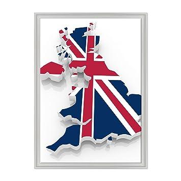 Cuadro sobre lienzo Canvas - ConKrea - Listo para colgar - Union Jack Flag - Bandera Inglés - Inglaterra UK London London: Amazon.es: Hogar