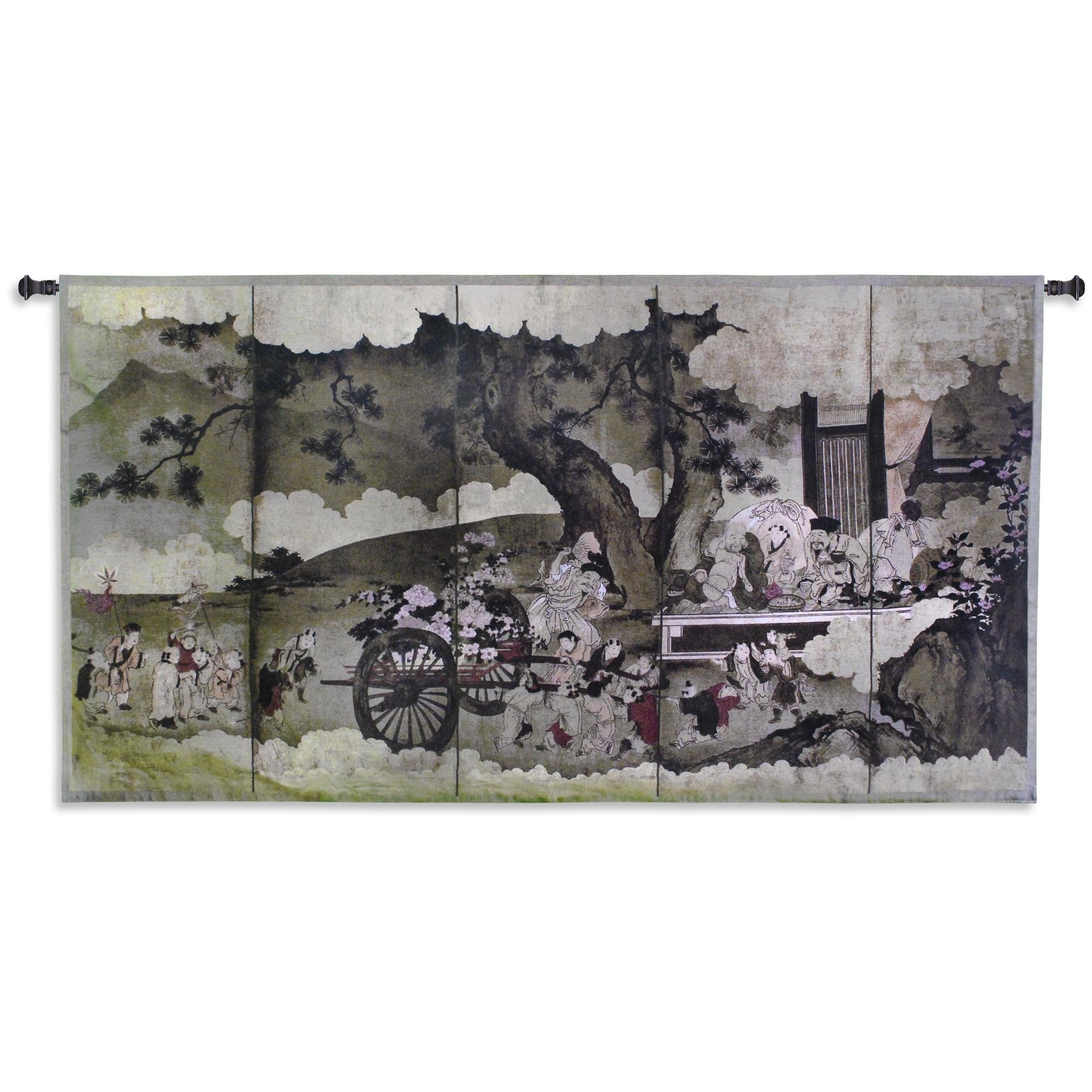 Fine Art Tapestries ''Seven Gods of Good Fortune and Chinese Children'' Wall Tapestry, Large