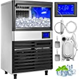 VEVOR 110V Commercial Ice Maker 155LBS/24H with 44LBS Storage Stainless Steel Commercial Ice Machine 5x11Ice Tray LCD…