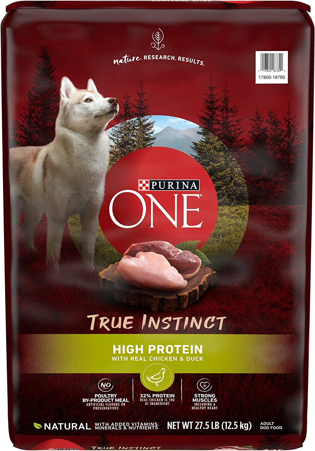 Purina ONE Natural, High Protein Dry Dog Food, True Instinct with Real Chicken & Duck - 27.5 lb. Bag