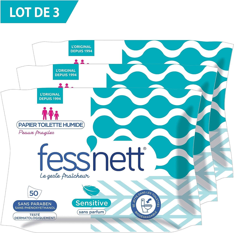 FessNett Sensitive - Papel higiénico húmedo - Lote de 3 unidades ...