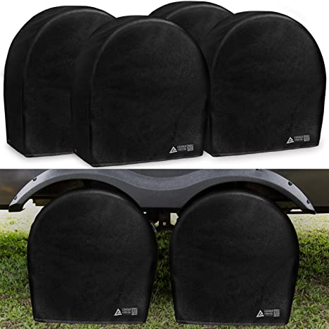 SUV Explore Land Durable Tire Cover Set of 4 Wheel Covers Fits Tires Diameters 32-34.75 inches UV Resistant and Water Resistant Tire Protector for RV Travel Trailer Jeep Motorhome