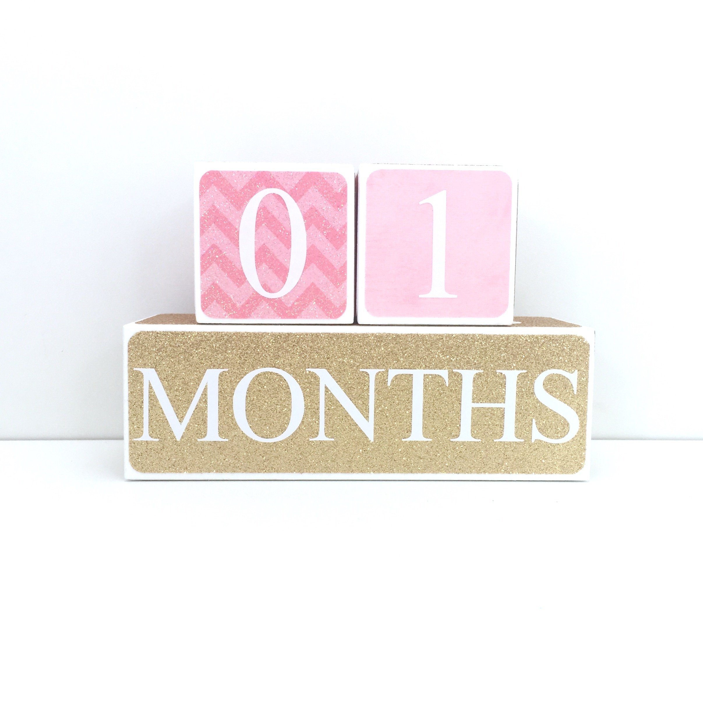 Sweet Sage Studio Wood Baby Milestone Blocks - 3 Color Styles - Best Baby Age Photo Props, Wooden Age Blocks, Baby Photography Props, Nursery Decor, (Pink and Gold)