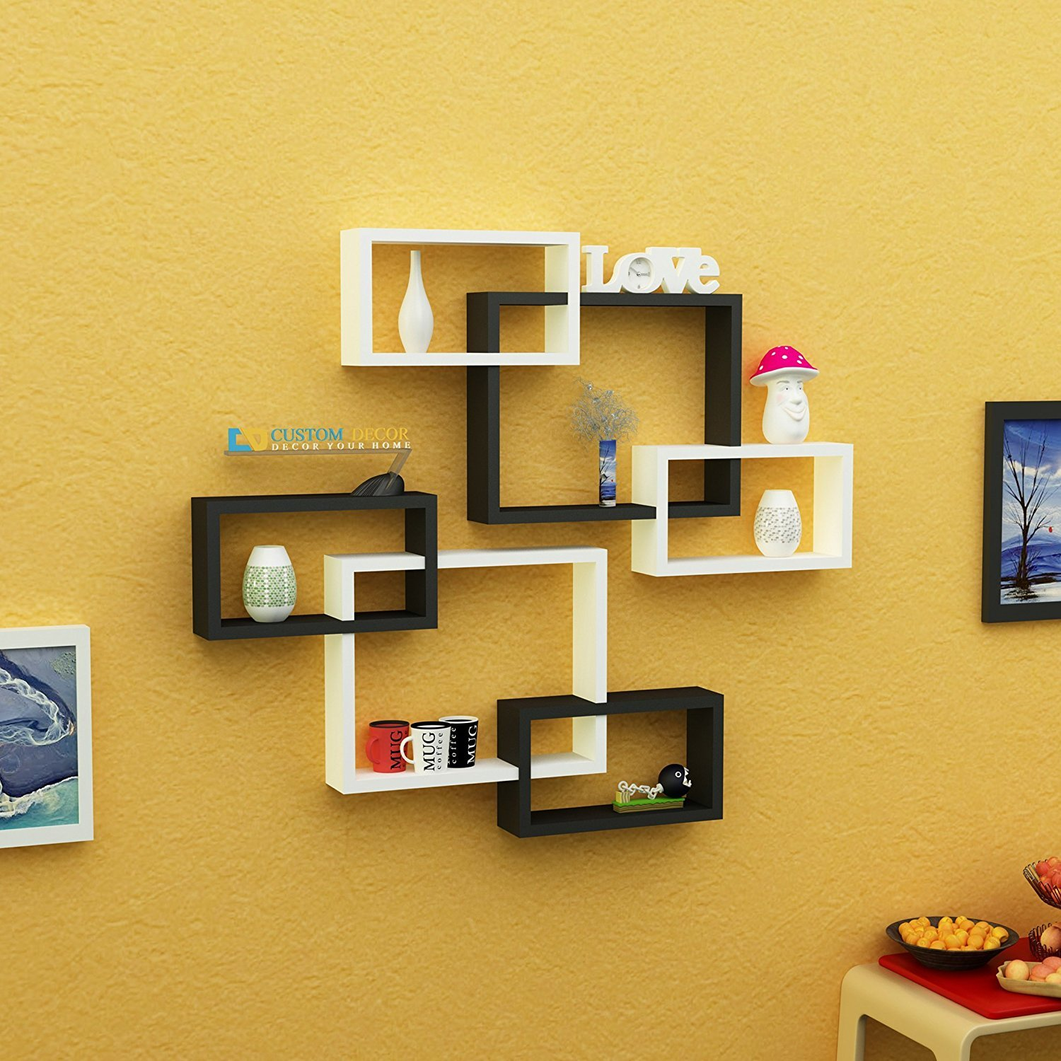 Custom Decor Wall Shelf Rack Decoration Set of 2 Yanik Shaped ...