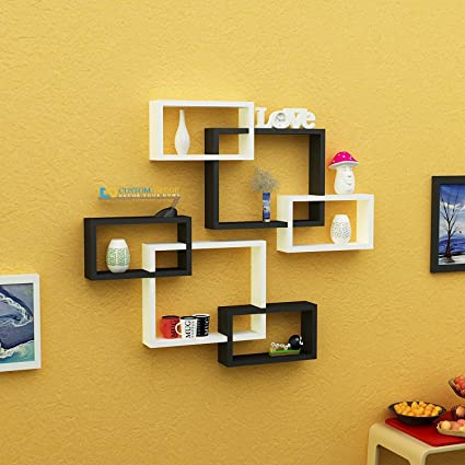 Custom Decor Wall Shelf Rack Decoration Set Of 2 Yanik Shaped Floating  Shelves   Storage Wall