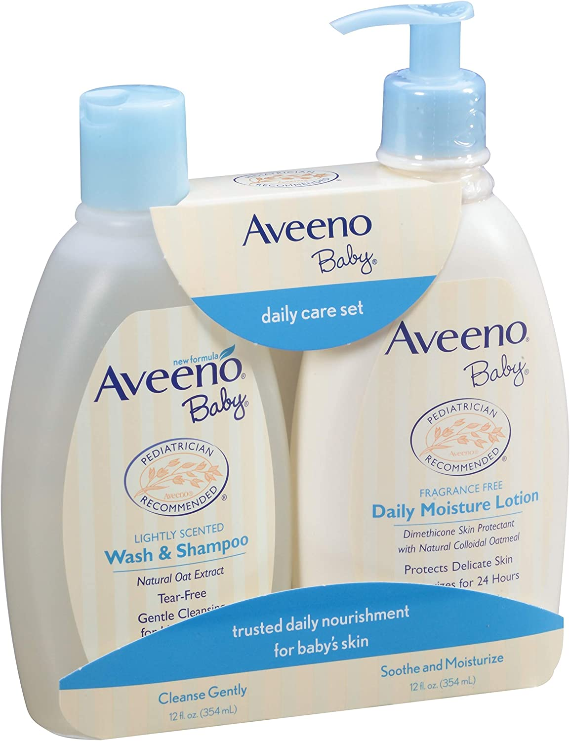 Aveeno Baby Gentle Moisturizing Daily Care Set, Natural Oat Extract, Natural Colloidal Oatmeal, 2 Items: Health & Personal Care