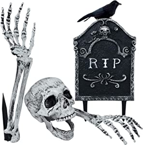 MITCIEN Skeleton Stakes for Halloween Decorations Outdoor Scary Yard Ground Breaker,Halloween Decoration Realistic Skull,Tomb,Crow for Yard Lawn