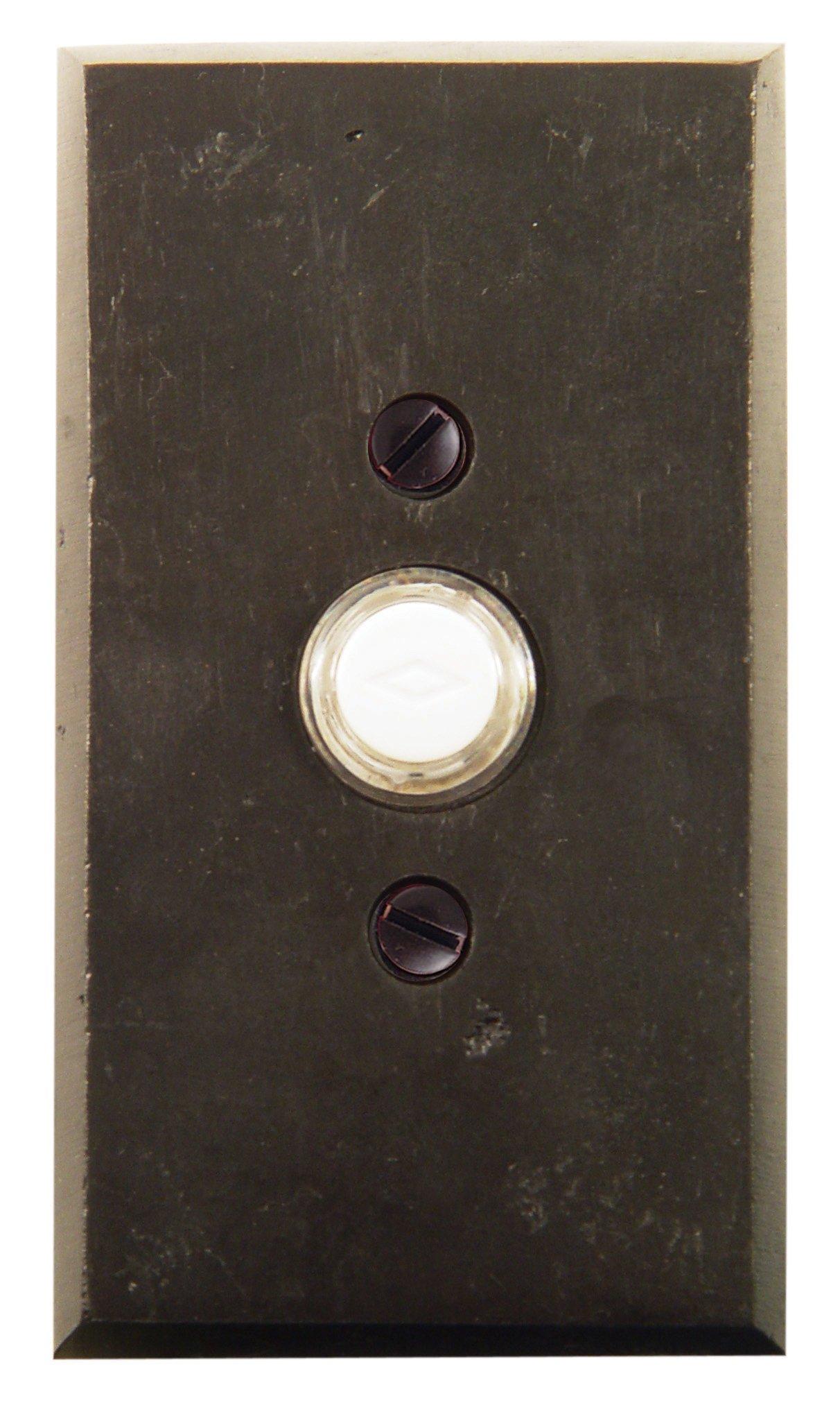 Emtek 2423 4-1/2'' Height Rectangular Style Bronze Lighted Doorbell Rosette from, Flat Black