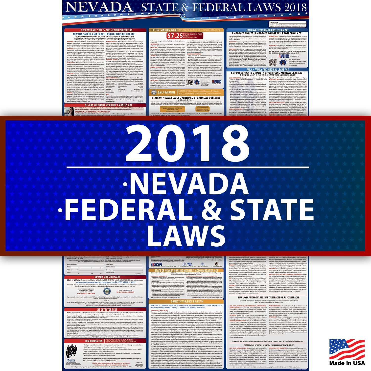 New 2018 Nevada Labor Law Posters UV-Coated All-in-One State and Federal Approved, OSHA compliant 36''x24''