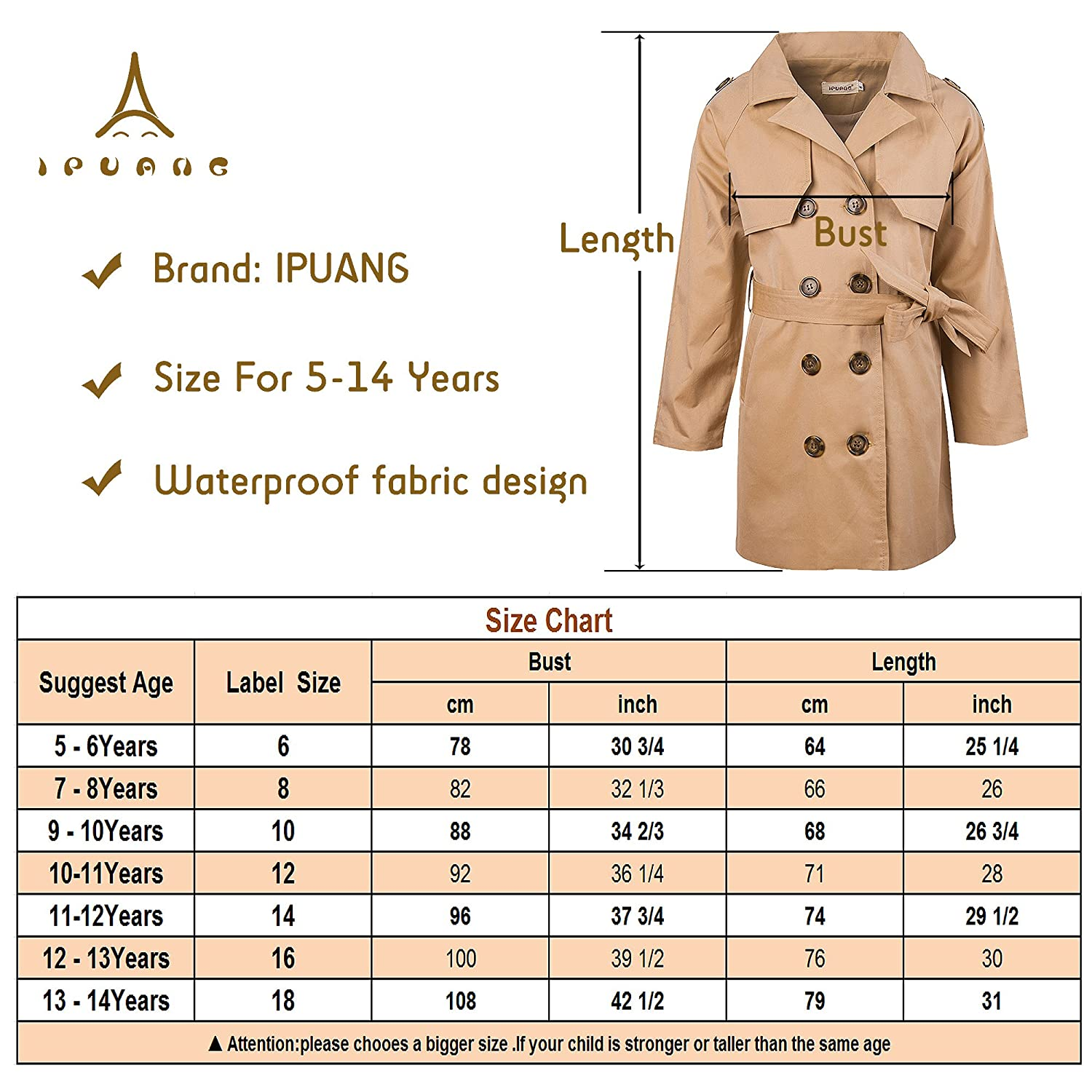 813f55290 ... Ipuang Girls Cotton Long Sleeves Trench Jacket Dress Coats Camel  Waterproof ...
