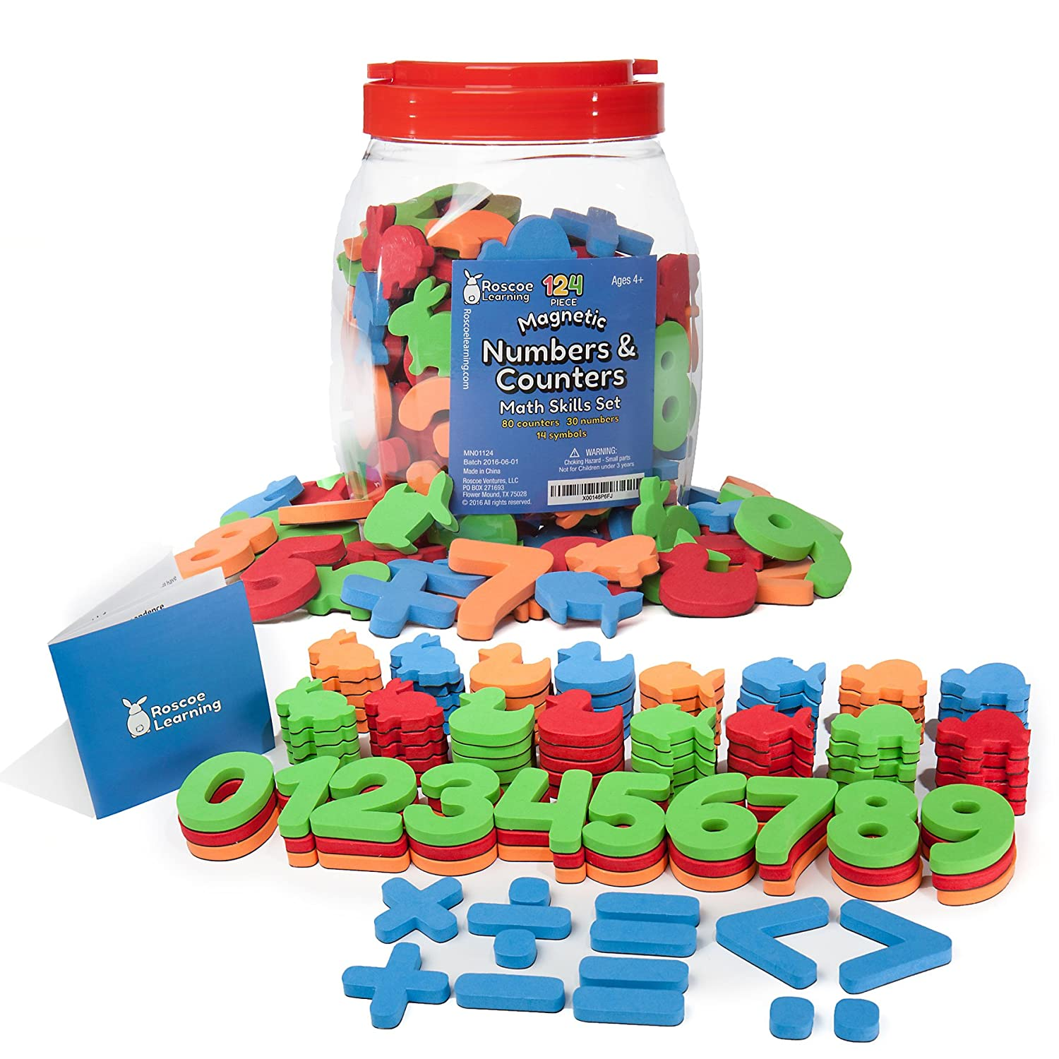 com roscoe learning piece magnetic numbers and com roscoe learning 124 piece magnetic numbers and counters math skills set toys games