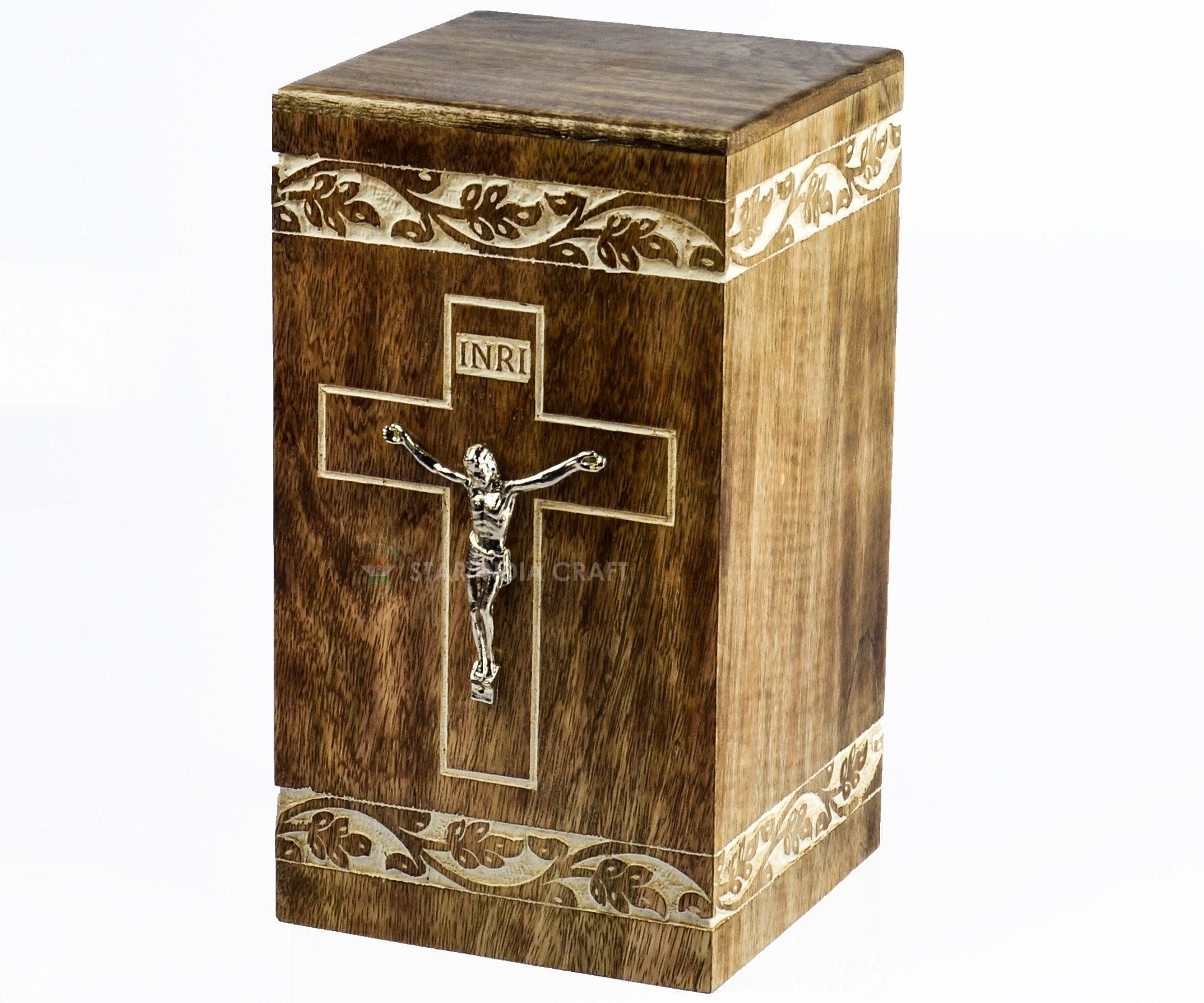 Cross Engraved Rosewood Urns for Human Ashes Adult By STAR INDIA CRAFT,Handmade Cremation Funeral Urn for Ashes,A perfect Burial Wooden Box for your Loved Ones (Cross-21, 11.25x6.25x6.25-250 Cu/In)