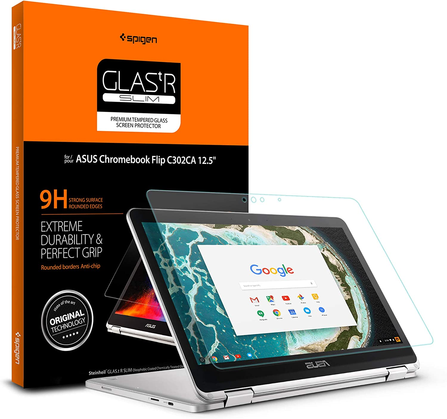 Spigen Tempered Glass Screen Protector Designed for ONLY Asus Chromebook Flip C302CA (12.5 inch) [9H Hardness]