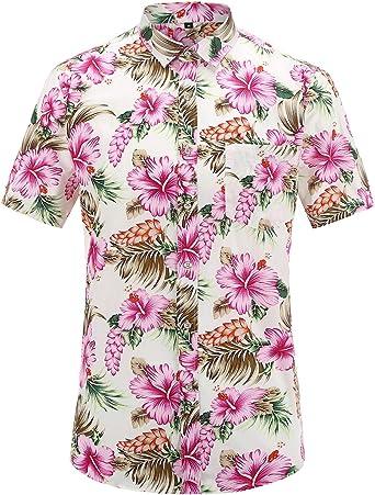 Jandukar Camisa hawaiana Funky para hombre, manga corta, bolsillo frontal, estampado hawaiano, hibisco, piña