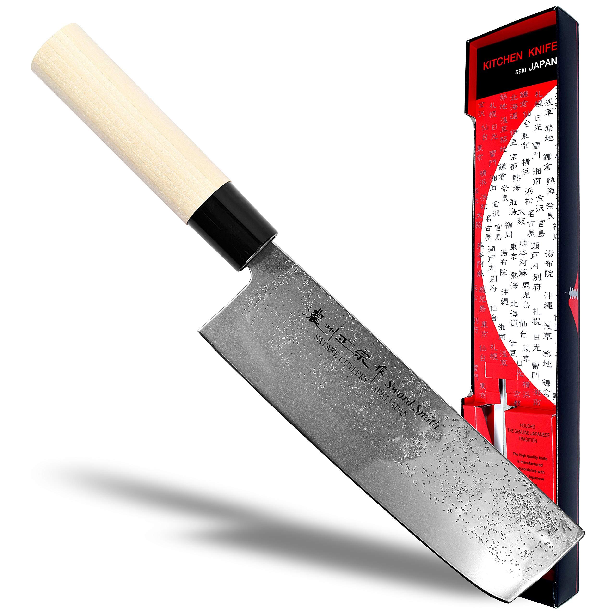 Seki Japan MASAMUNE, Japanese Vegetable Kitchen Knife, Nashiji Stain Finish Stainless Steel Nakiri Knife, Shiraki Handle, 6.3 inch (160mm) by product of gifu japan