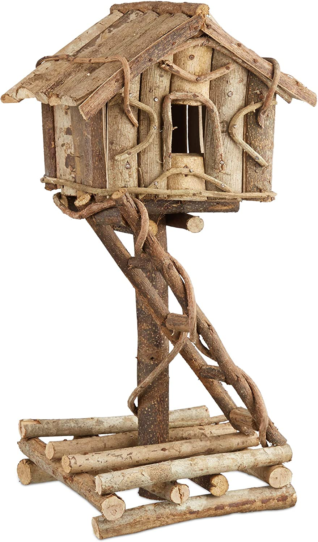 Relaxdays Casa de Pájaros Decorativa de Pie, Madera, Marrón, 17x21x42 cm