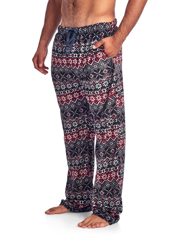 Ashford & Brooks Men's Mink Fleece Sleep Lounge Pajama Pants - Charcoal/Black Fairisle - Small
