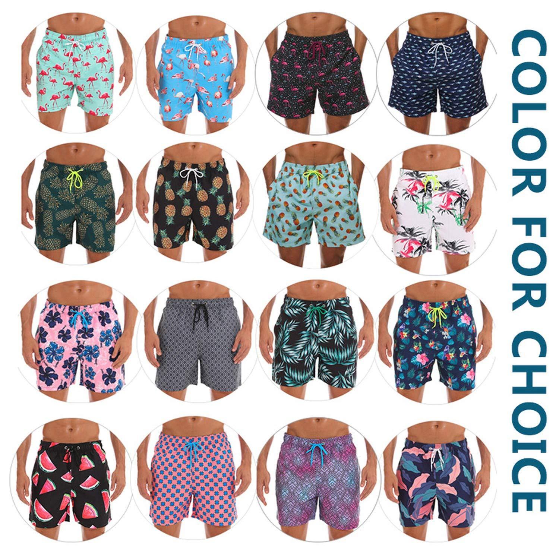 Quick Dry Mens Beach Board Shorts Briefs Swim Trunks,Flamingo,XL,Size