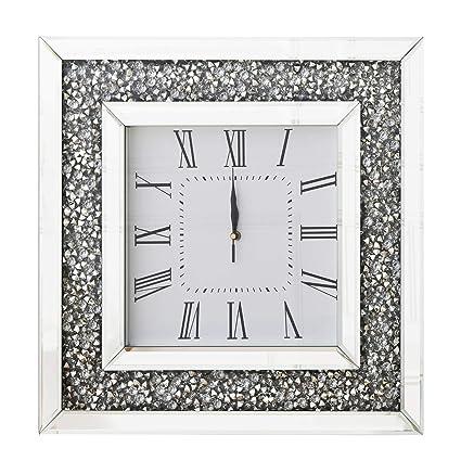 RICHTOP Reloj De Pared Grande Cuadrado Espejo Diseño de Diamantes, Casi Silencioso Cuarzo Relojes de