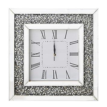 Samt Uhren Fast Holz Quartz Wanduhr Diamant Lautlos Back Moderne Umwickelt Eckig Groß Schwarz Für Glitter Richtop Mit 50cm F1l5cTKJu3