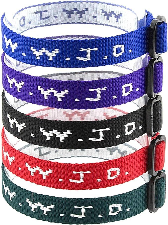 Woven Jesus Religious WWJD Bracelets Bracelet Fundraiser Wristbands 18//Pack