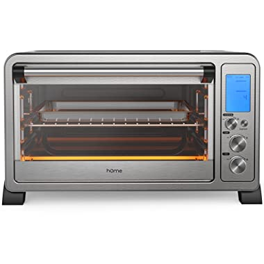 hOmeLabs Digital Countertop Convection Oven - 1500 Watts, Stainless Steel Exterior with Baking Pan Broil Rack Rotisserie Fork and Removable Crumb Tray - 6-Slice LCD Display Compact Toaster Oven