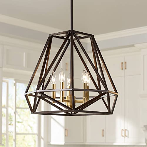 Hawking Bronze Geometric Cage Pendant Chandelier 20 Wide Industrial 5-Light Fixture for Dining Room House Foyer Kitchen Island Entryway Bedroom Living Room – Franklin Iron Works