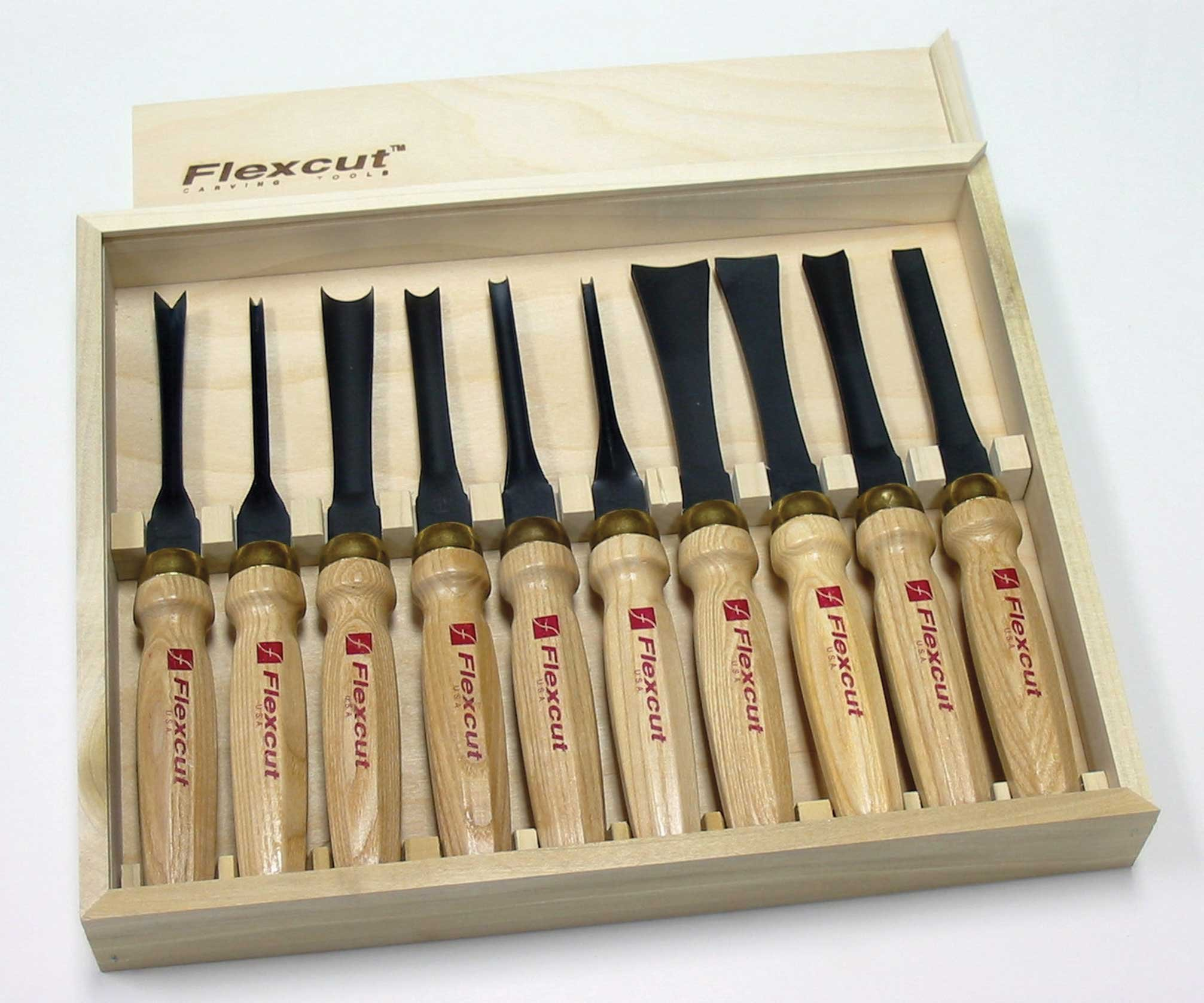 Flexcut Carving Tools, Mallet-Carving Chisels and Gouges for Woodworking, Deluxe Set of 10 (MC100)