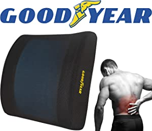Goodyear GY1217 Gel Lumbar Cushion Cooling Premium Memory Foam Helps Relieve Lower Back Pain Adjustable Strap for Different Seat Sizes