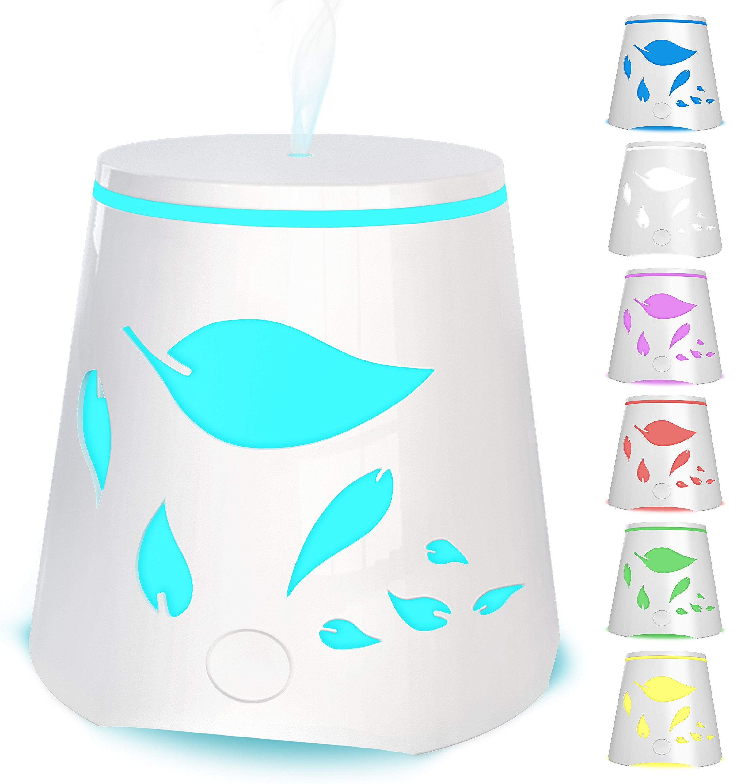 Essential Oil Diffuser 7 Color Changing Led Lights – Portable Ultrasonic Cool Mist Aromatherapy Oils Humidifier – Auto Shutoff Best Aroma Diffusers For Home Office Kids and Spa up to 800 sq ft room