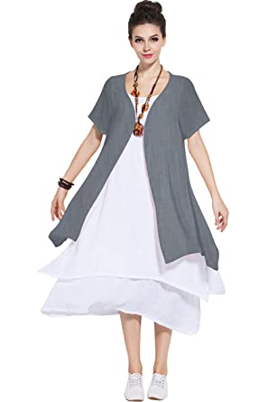 Anysize Soft Linencotton Two Piece Dress Spring Summer Plus Size