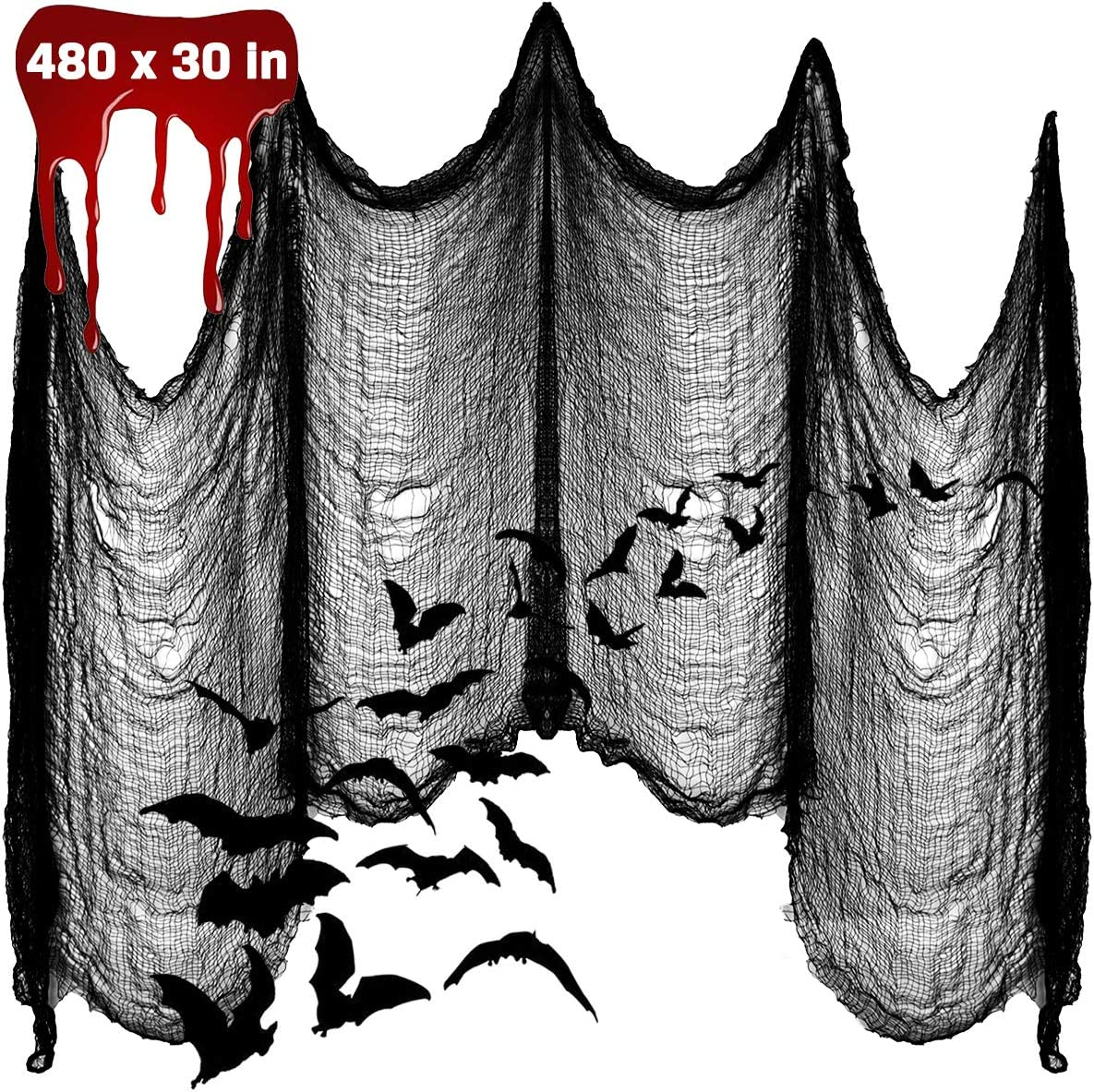 """Apfity Halloween Creepy Cloth Decoration, 480"""" x 30"""" Giant Spooky Halloween Decor for Haunted Houses Party Outdoor Yard Home, Black"""