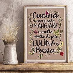 Poster Adesivo Murale per Muro e Parete scritta cucina non è solo mangiare. cucina è poesia   Gigio Store ©