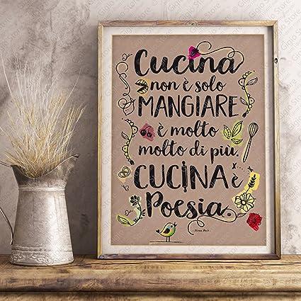 Poster Adesivo Murale per Muro e Parete scritta cucina non è solo ...