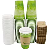 Special Green Grass Design, Hot Paper Cup,with Lids and Cup Sleeves,Eco-friendly,100% Blodegradable&Compostable (Green Grass,