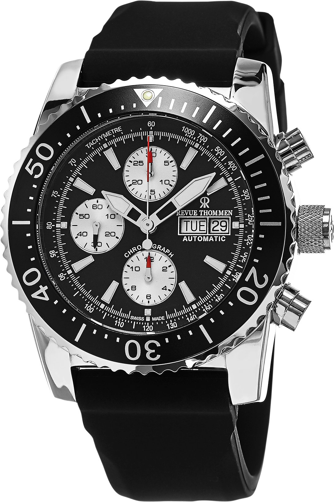 Revue Thommen Automatic Diving Watch Chronograph For Men - Stainless Steel 45mm Analog Black face Sapphire Crystal Day Date Watch - Waterproof Black Rubber Band Swiss Made Mens Diver Watch 17030.6537 by Revue Thommen