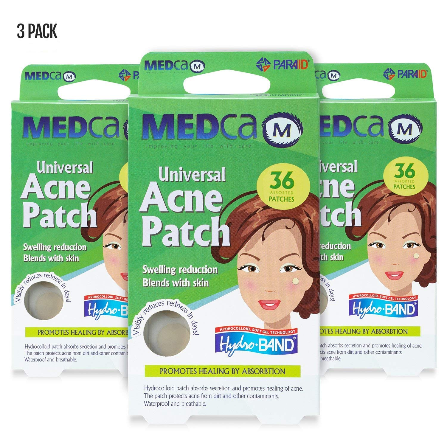 Acne Care Pimple Patch Absorbing Cover - Hydrocolloid Bandages (108 Count) Two Universal Sizes, Acne Spot Treatment for Face & Skin Spot Patch That Conceals Acne, Reduces Pimples and Blackheads by MEDca