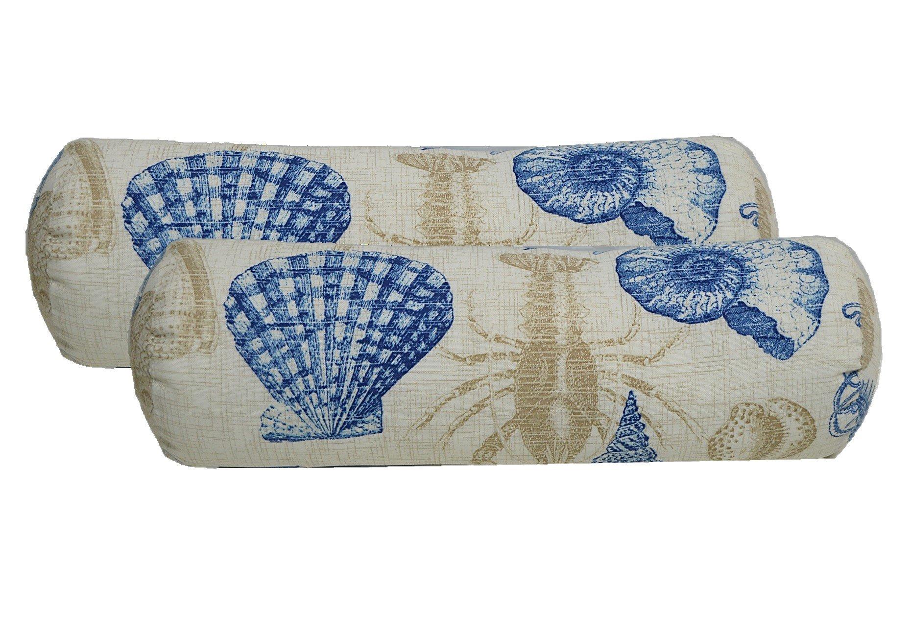Set of 2 - Indoor / Outdoor Bolster / Neckroll Decorative Pillows - Blue, Tan, Ivory Nautical / Coastal Fish, Crab, Seashell, Octopus, Seahorse Fabric