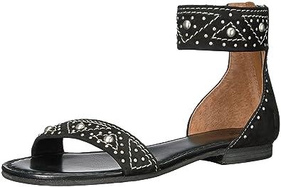 6a0fb378afdad FRYE Women s Carson Deco Zip Flat Sandal Black 6.5 ...
