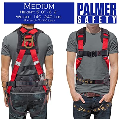Palmer Safety Fall Protection Full Body 5 point Harness Universal Sewn in back pad I OSHA ANSI Industrial Roofing Tool Personal Equipment Aluminum Dorsal D-ring Quick-Connect Buckle Grommet Legs