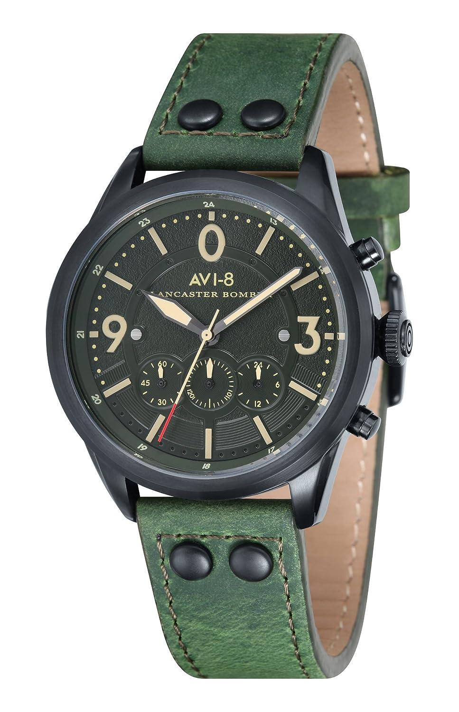 AVI-8 Unisex-Armbanduhr Chronograph Quarz Leder Lancaster Bomber - AV-4024-04