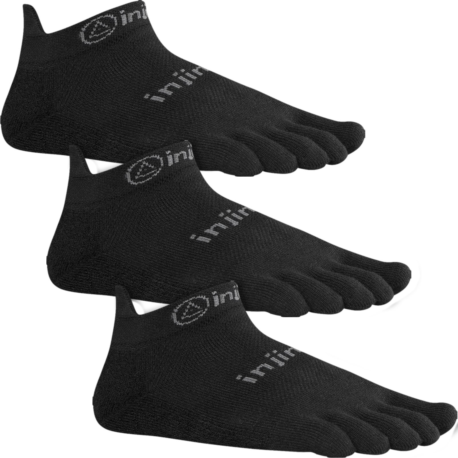 Injinji Run Lightweight No-Show 3-pk Black S by Injinji