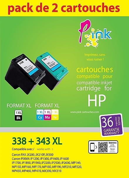 P Ink HP 338343 Multi-pack (negro, cian, Magenta, amarillo) Compatible 22913020 einkpahp338343 Pack of2: Amazon.es: Oficina y papelería