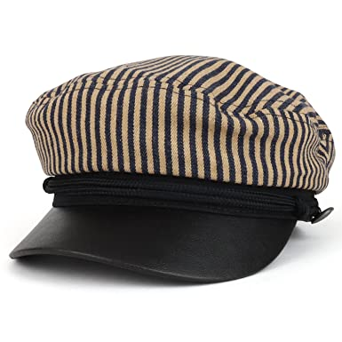 19d2c4edd9a Trendy Apparel Shop Greek Sailor Fisherman Stripe Crown Baker Boy Hat With  Rope Band - Black
