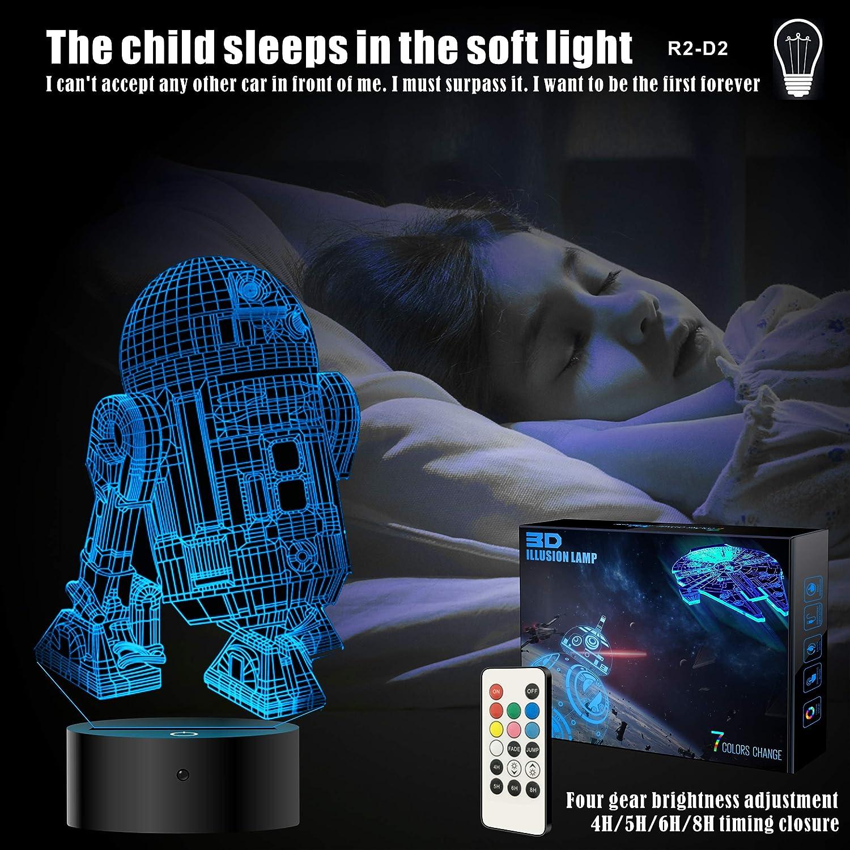 I migliori regali del 2018 per gli appassionati di Star Wars Giocattolo Star Wars 3D Star Wars lampada 3D per regali 4 Packs-Bigger-Heller decorazione bambini Bedroom luce notturna 4 modalit/à e 7 colori cangianti con telecomando o Touch